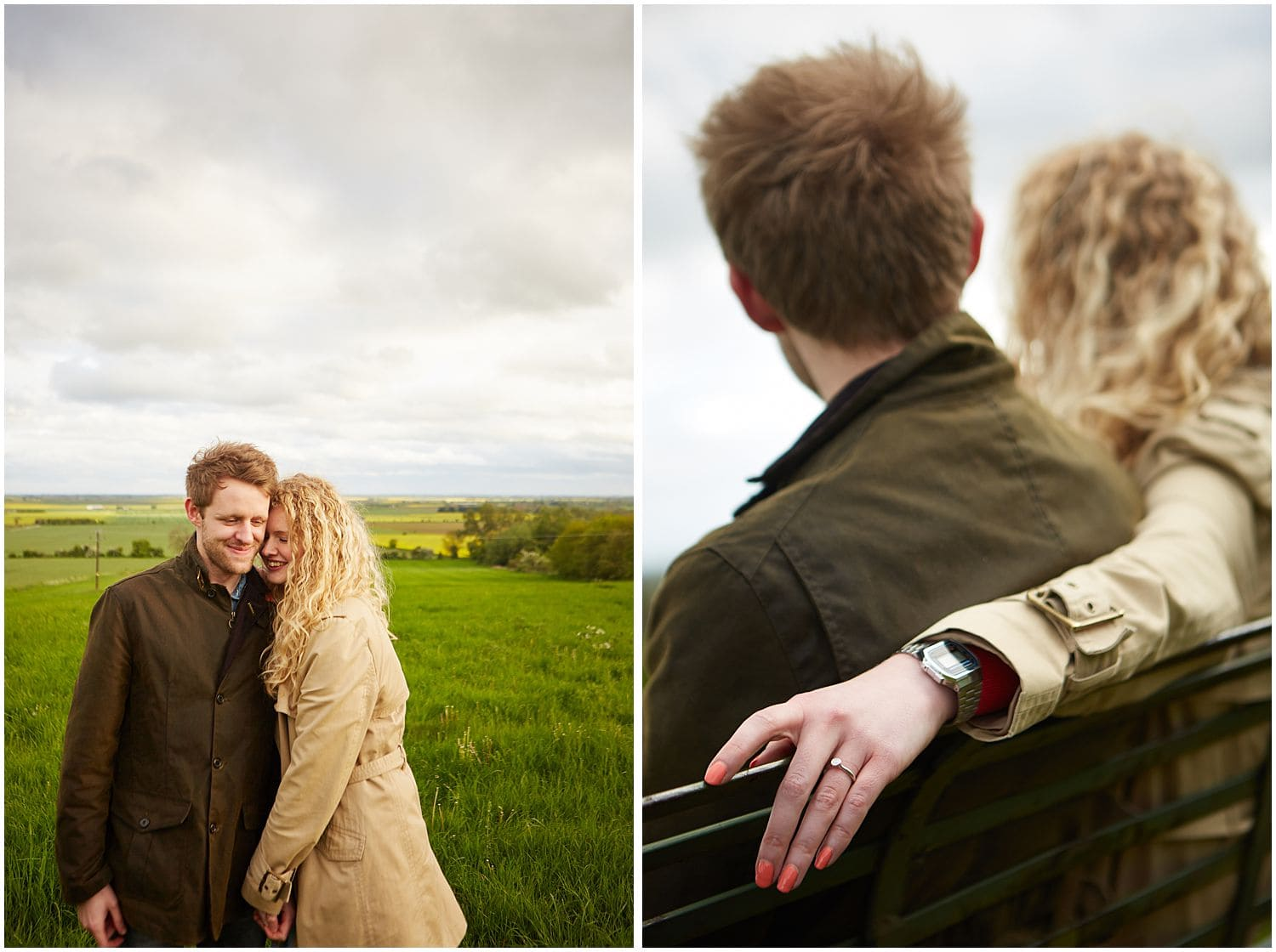 A couple smiling in the countryside during an engagement photoshoot