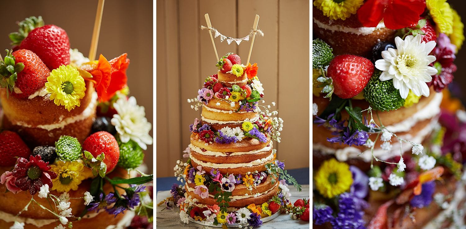 A trio of photos of a naked wedding cake