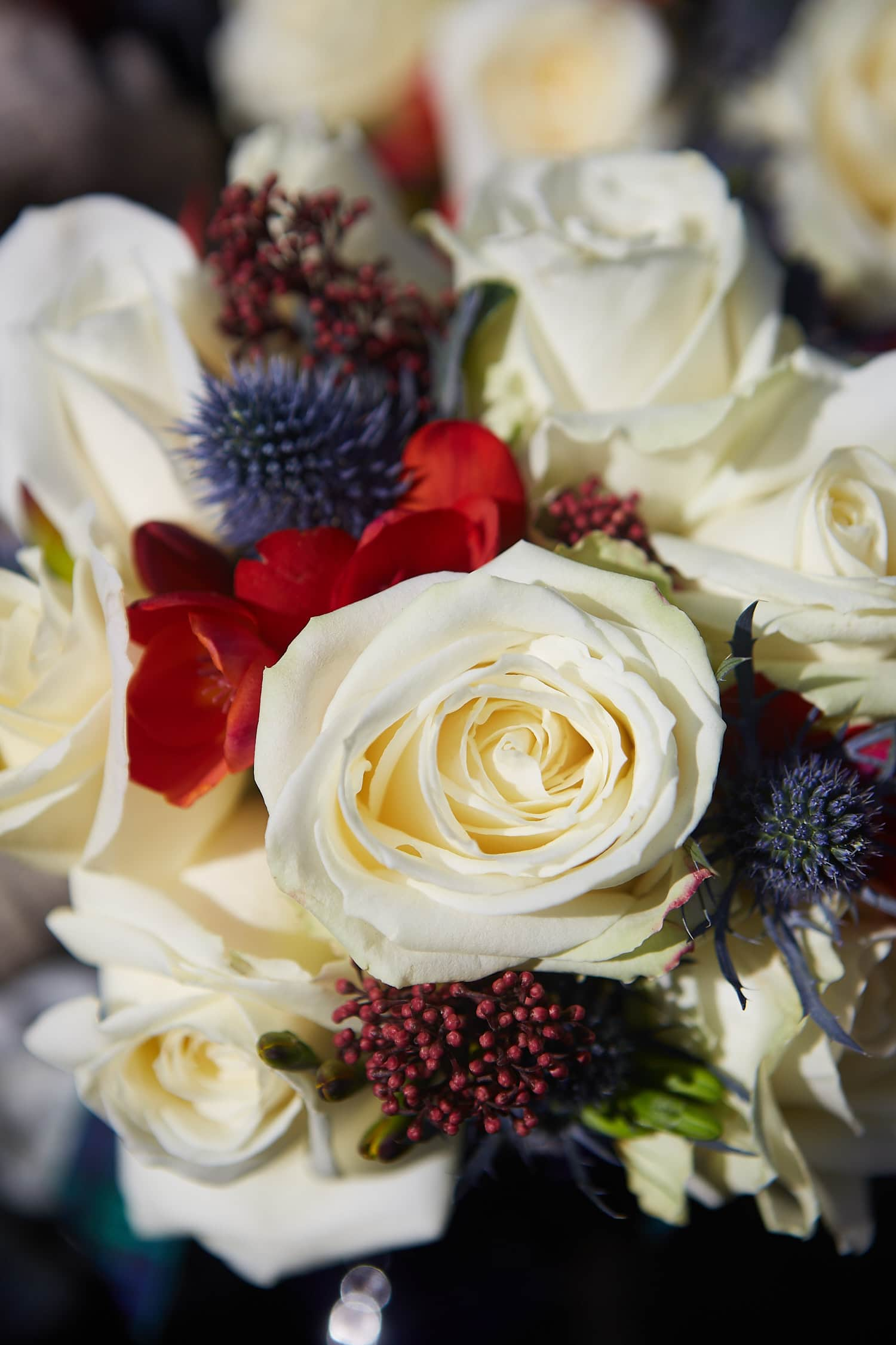 A close up of some wedding flowers