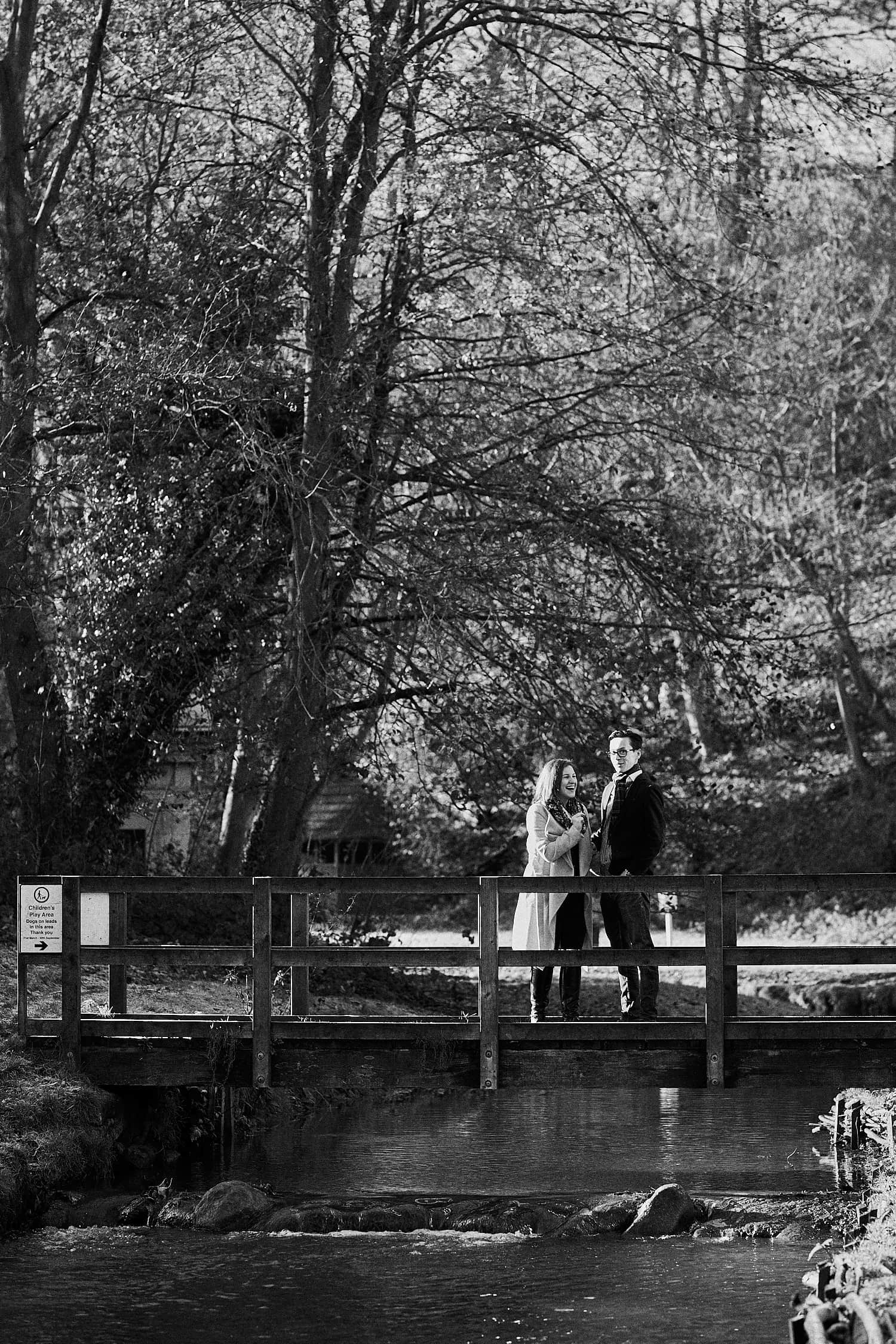 An engaged couple laughing at Hubbards Hills, Louth, Lincolnshire