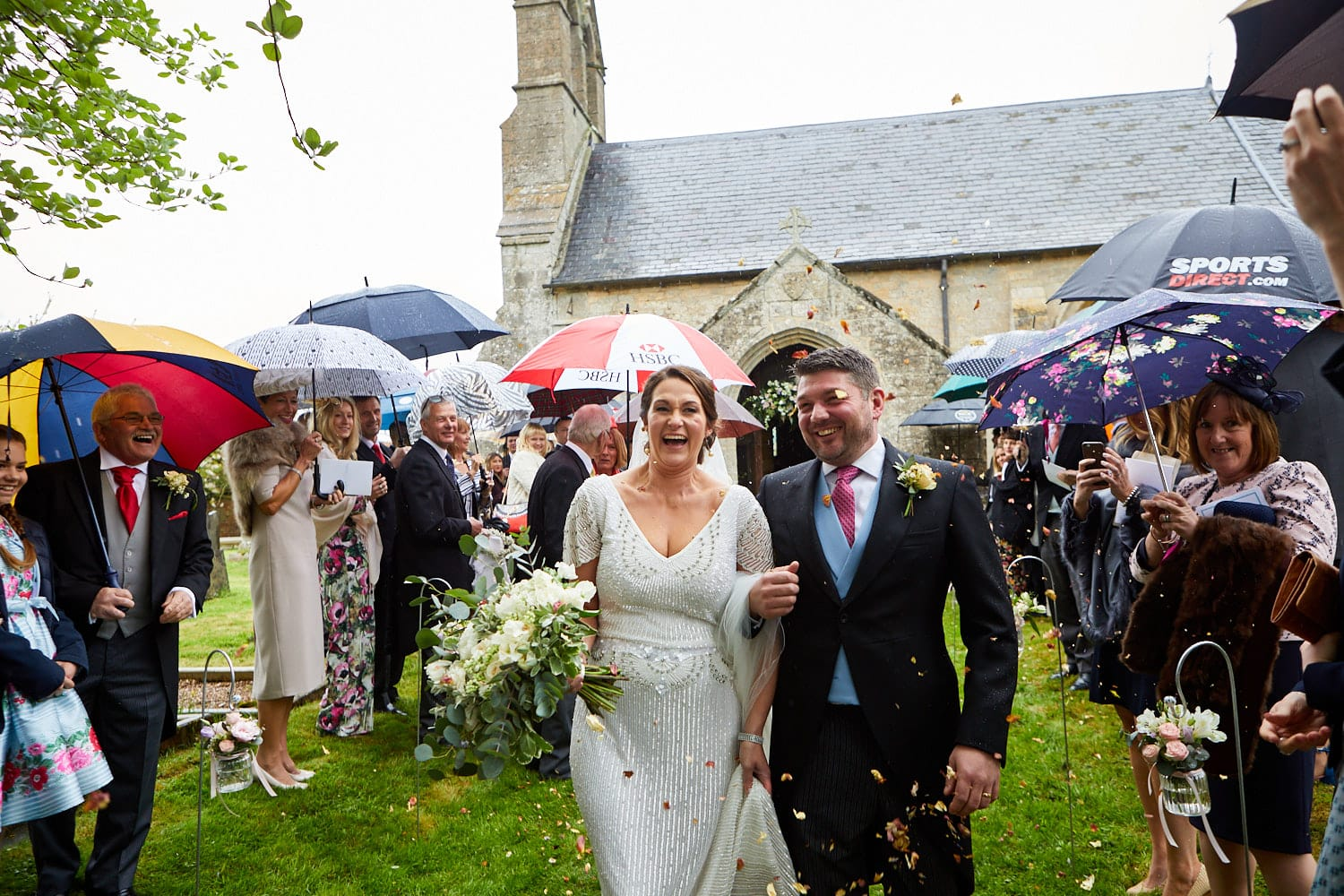 A married couple leave the Saxon Church at Howell Manor in Sleaford