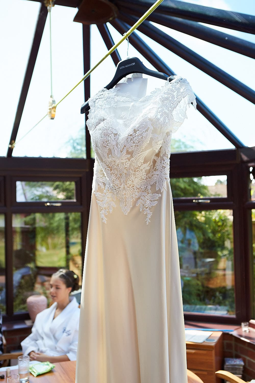Hangingf wedding dress