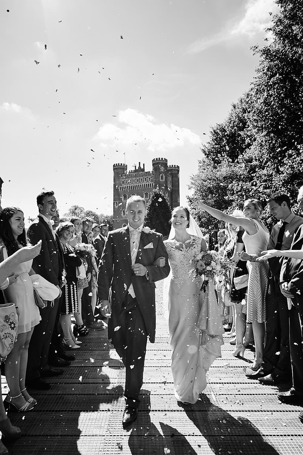 Couple confetti at Tattershall Castle