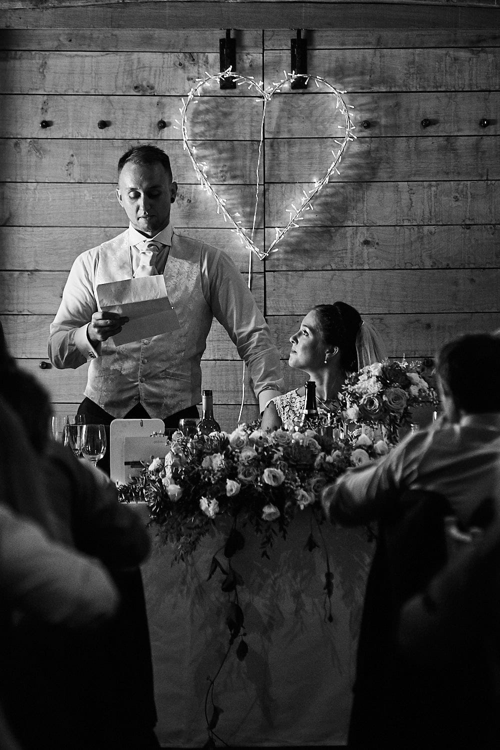 A groom giving his speech on his weeding day.