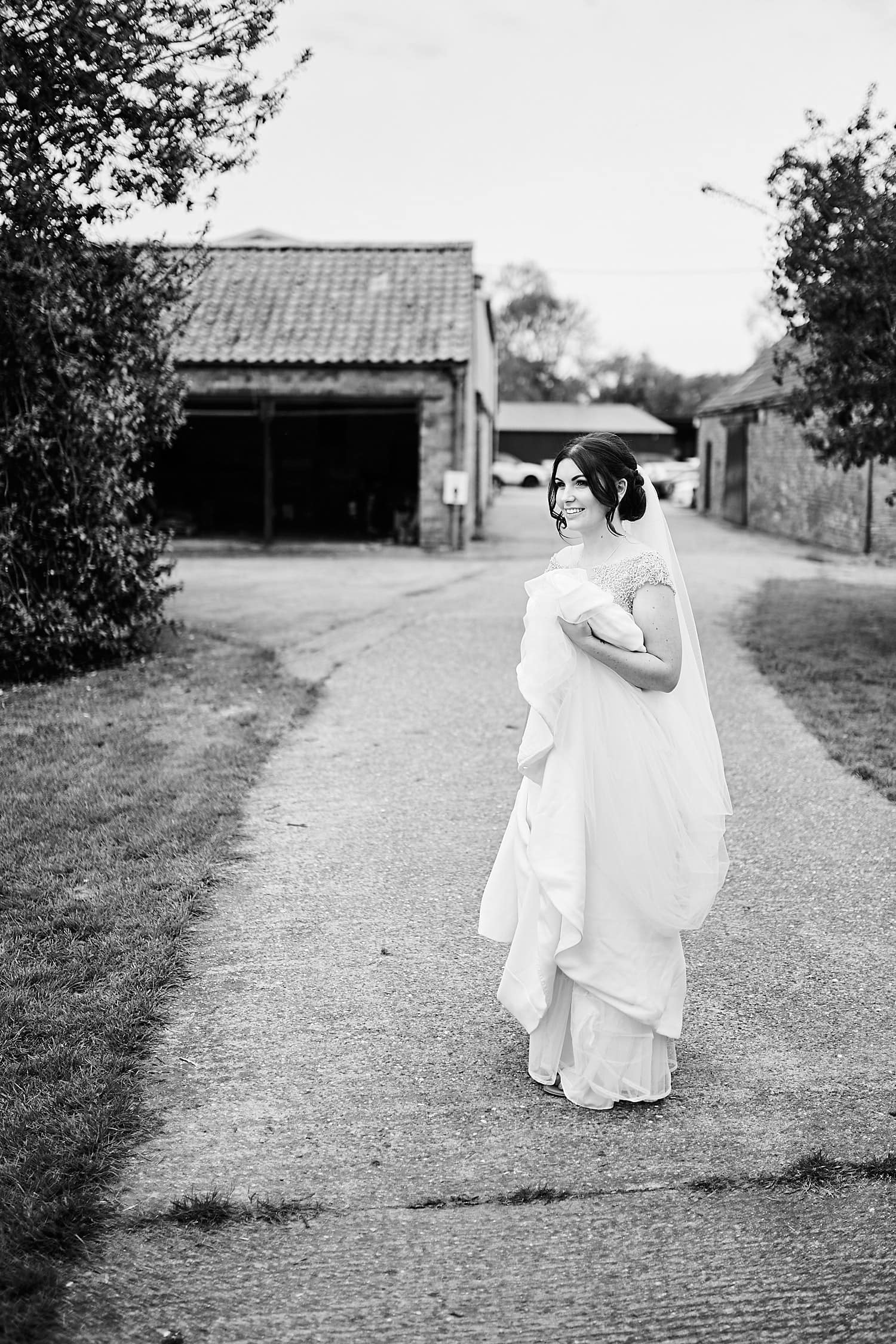 A bride taking a moment on her wedding day.