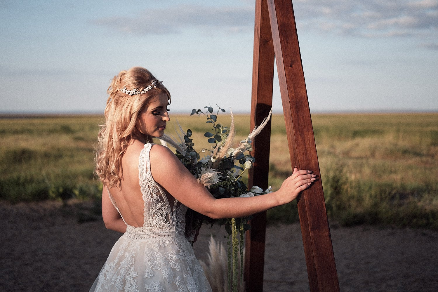 Pinterest shoots like the styled shoot on a beach of a model bride posing