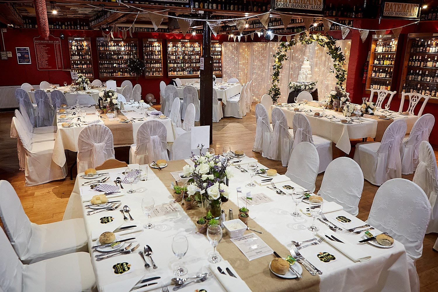 the wedding recpetion space at Batemans Brewery in Wainfleet Lincolnshire