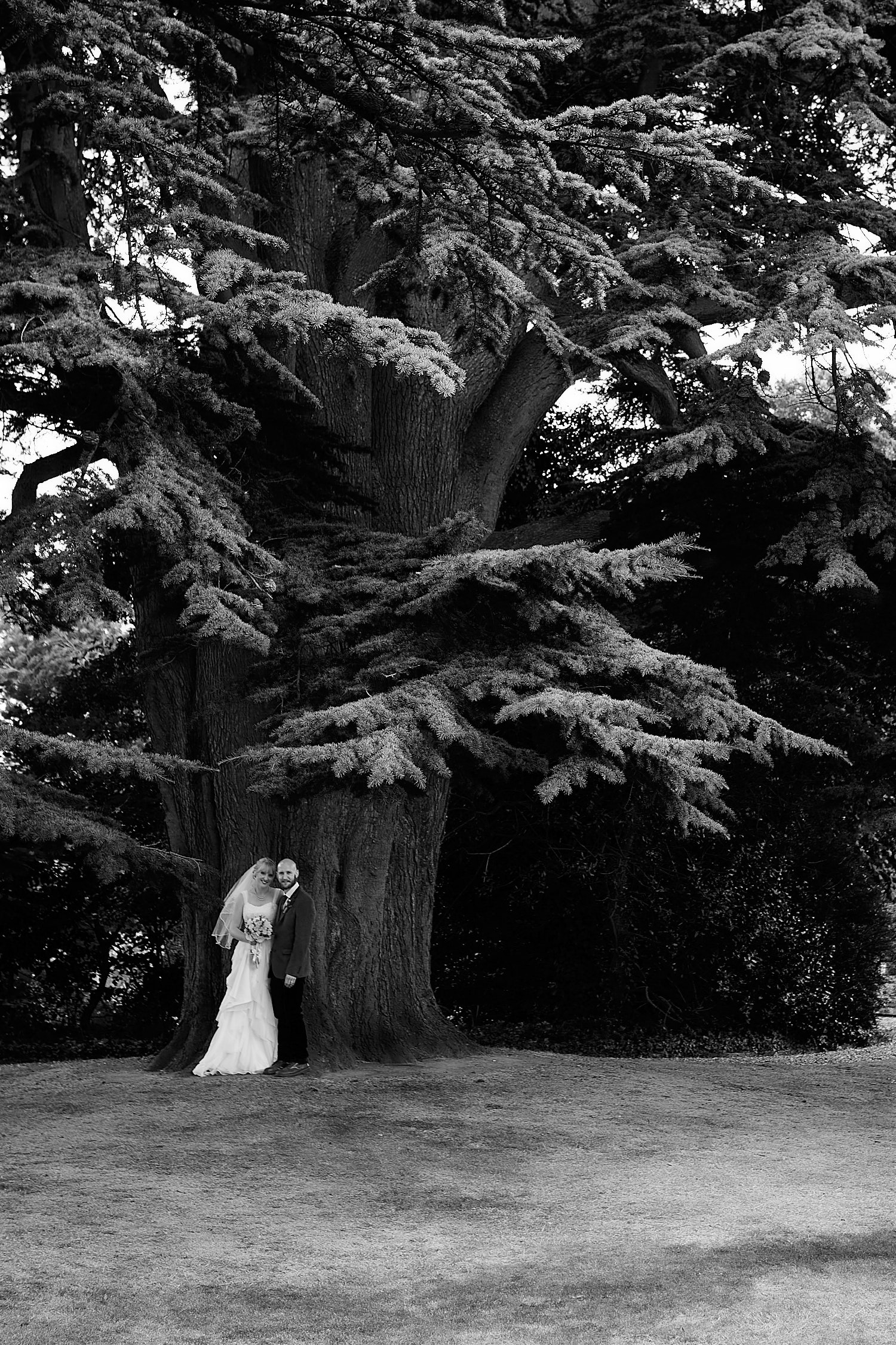 A couple pose by a tree during a Gunby Hall wedding