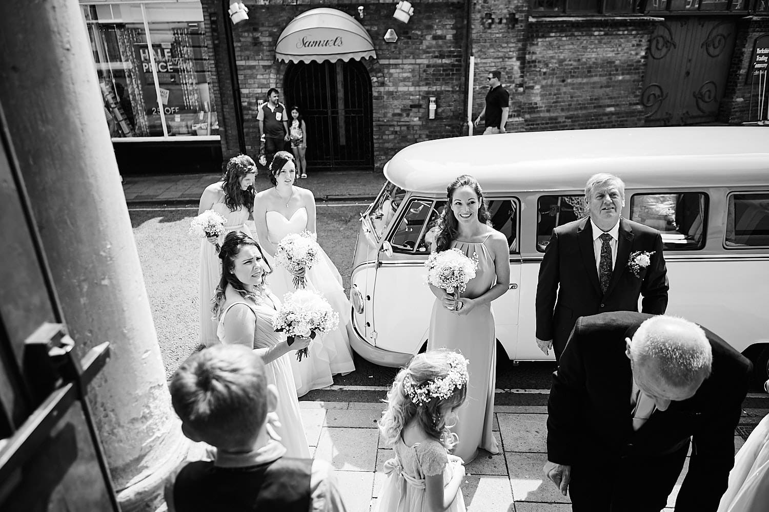 A wedding party arrive at Louth Town Hall