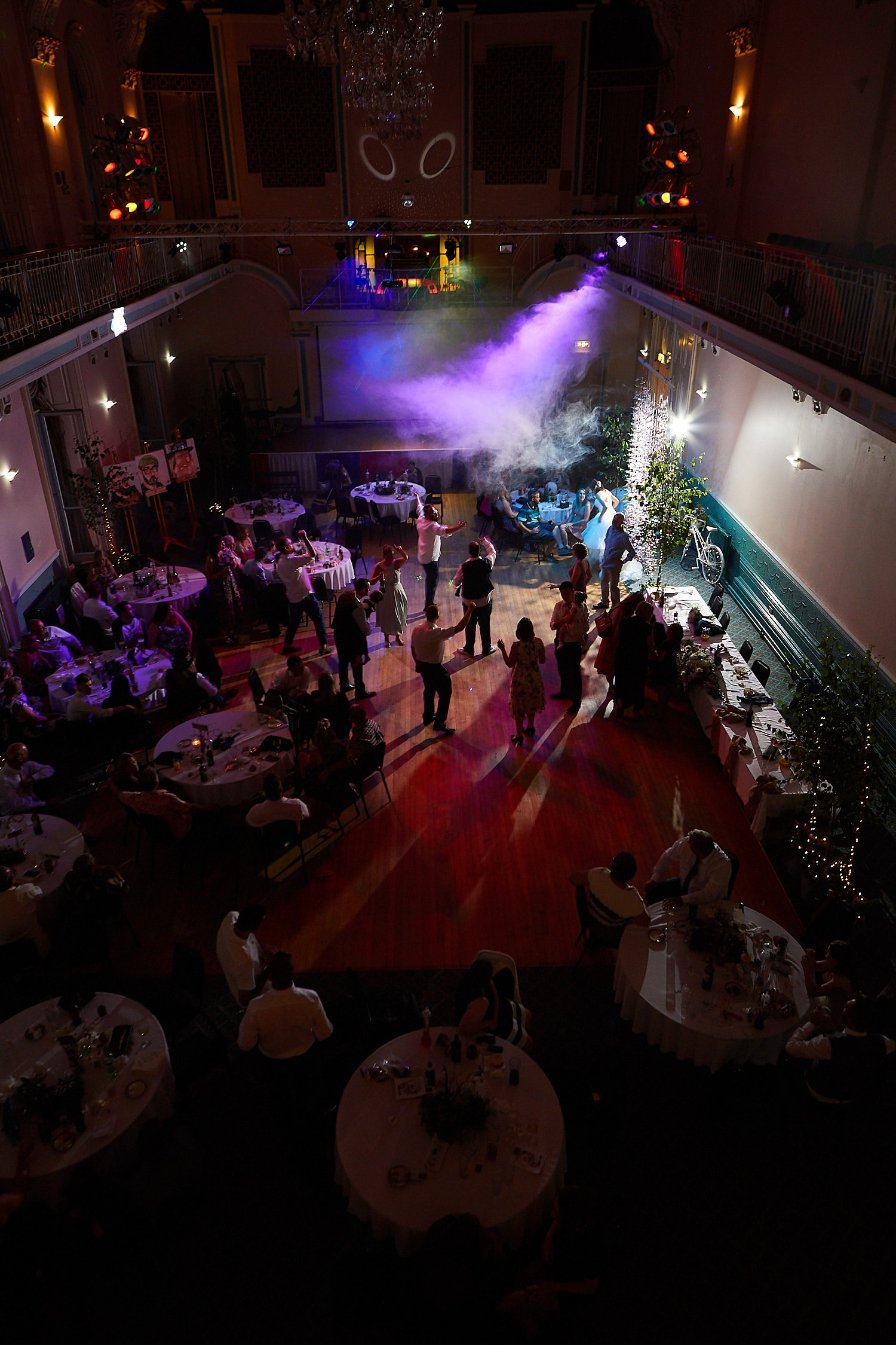 A shot from the balcony of Louth Town Hall wedding venue while guests dance