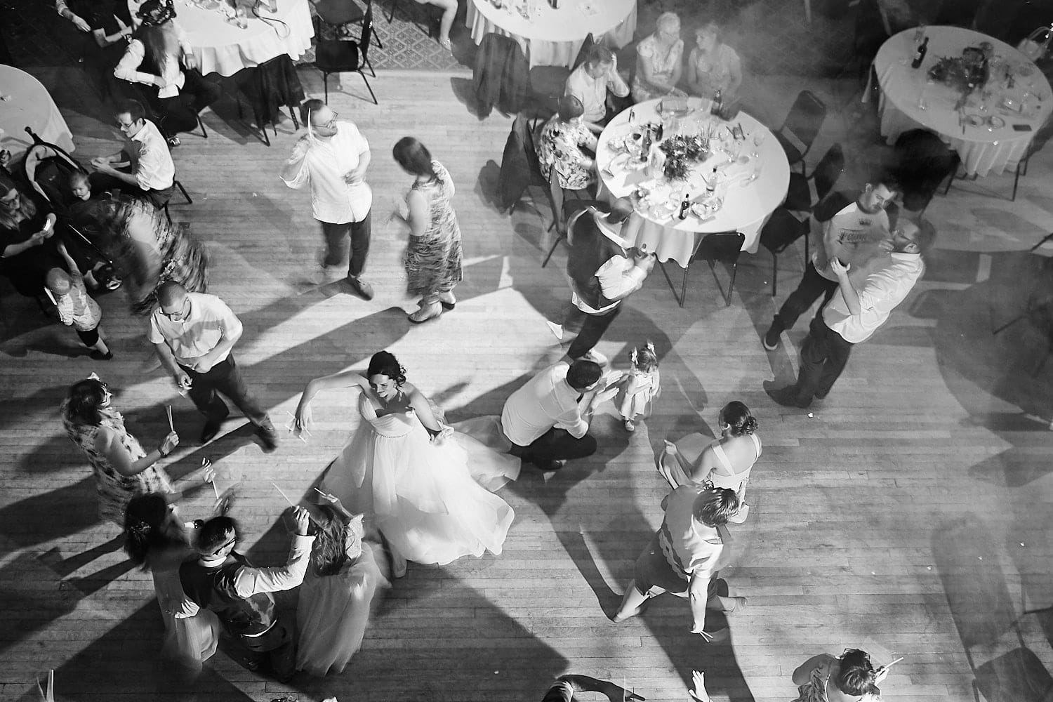 a view of the dancfloor from above during a wedding