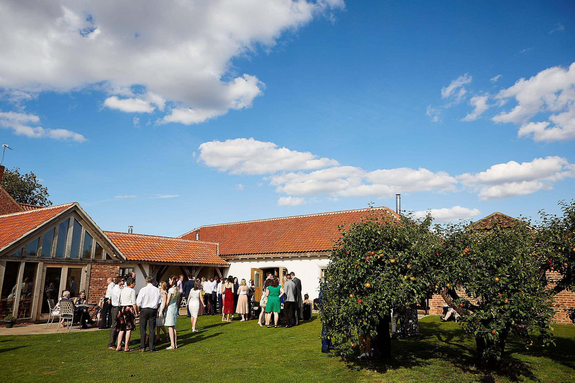 The outdoor space at Abbey Farm being enjoyed by guests. There's a blue ky with an apple tree in the foreground.
