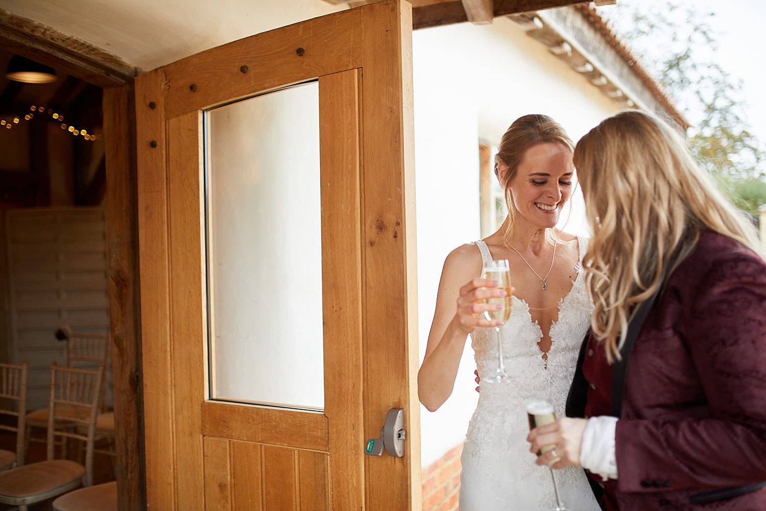 A same sex couple share a quiet moment on their wedding day