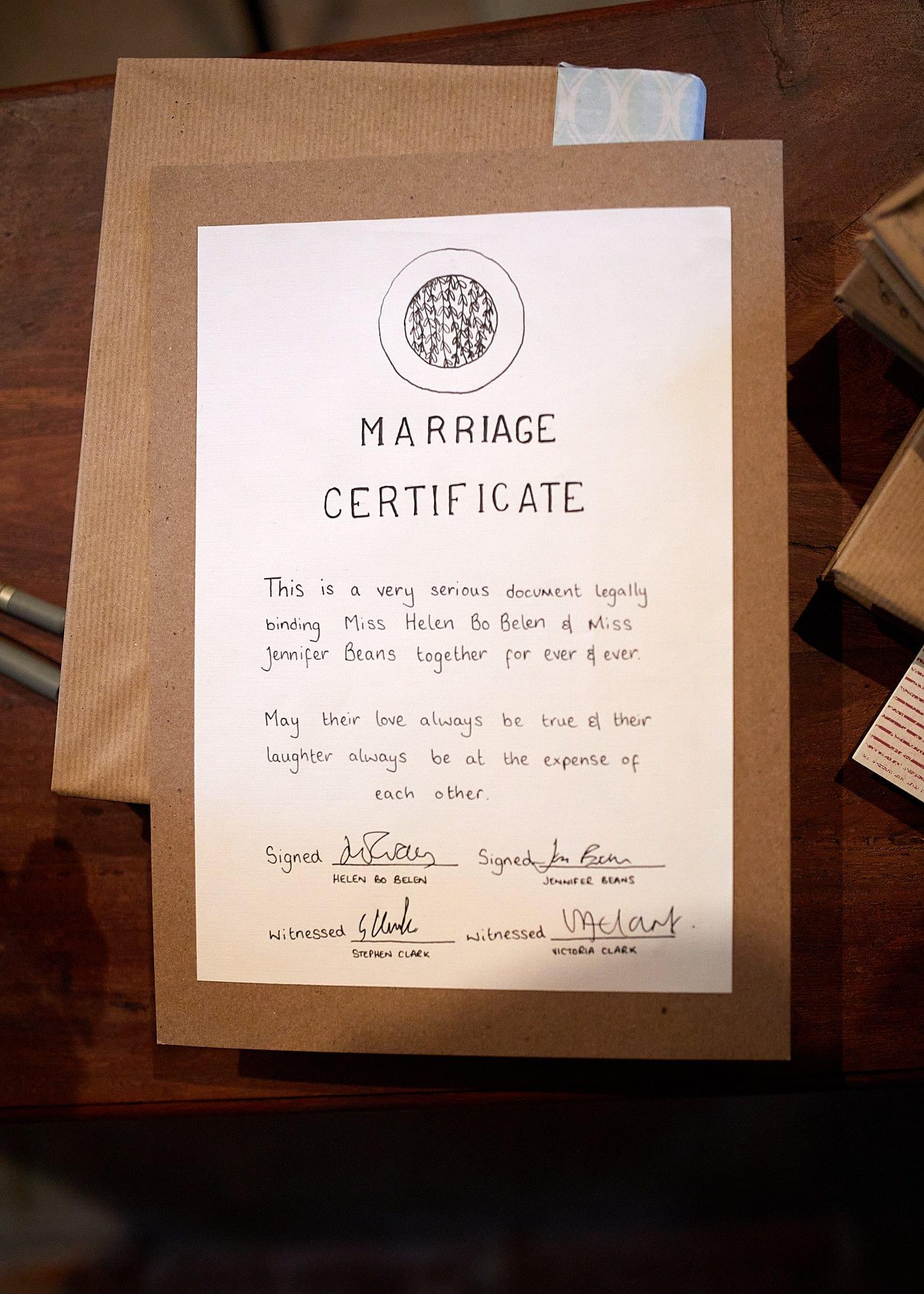 A same sex marriage certificate