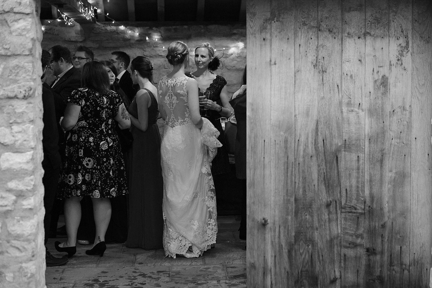 a bride chatting with friends