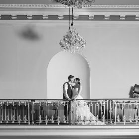 A kiss at a Louth Town Hall Wedding between bride and groom