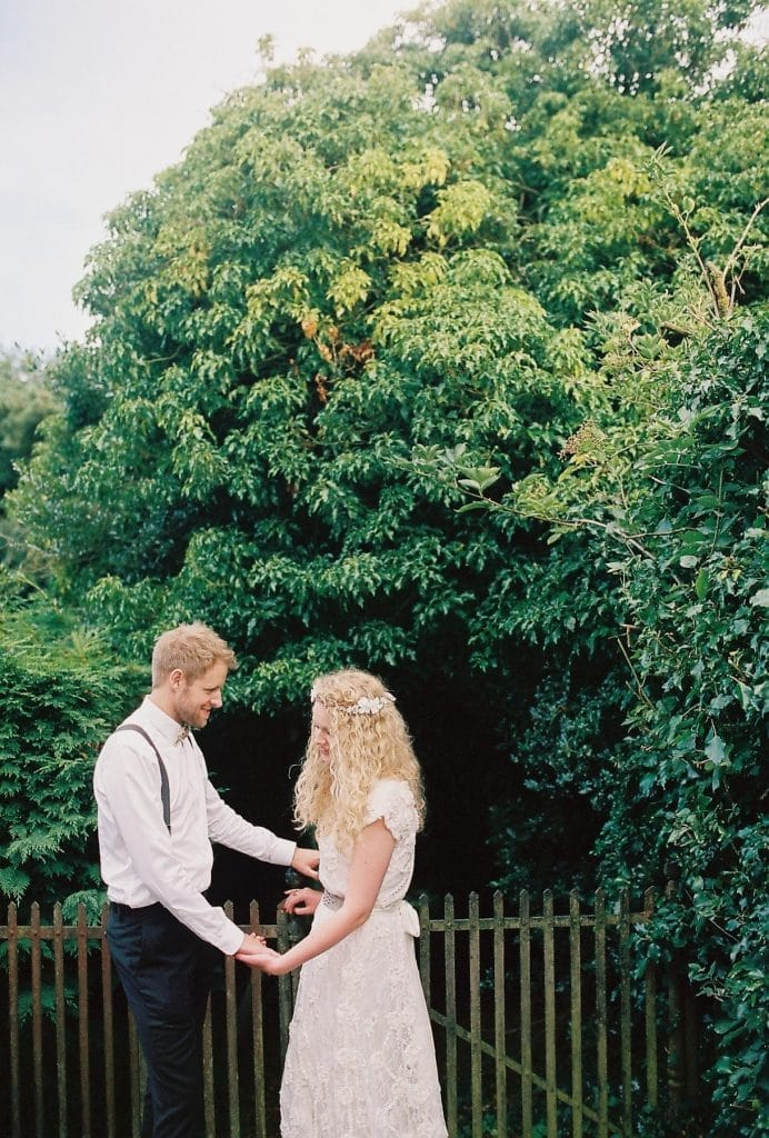 Film wedding photography of a couple spending time alone on their wedding day