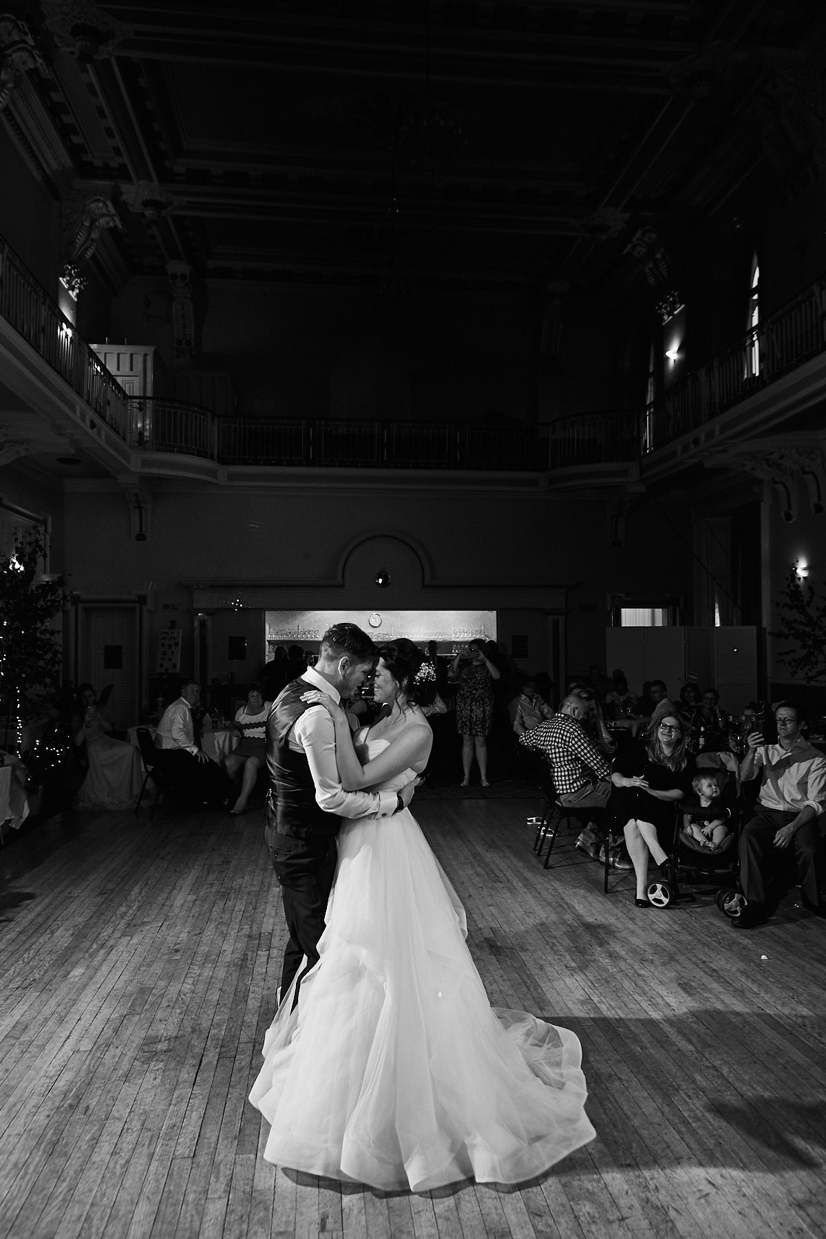 First dance on a dance floor a couple celebrate their marriage
