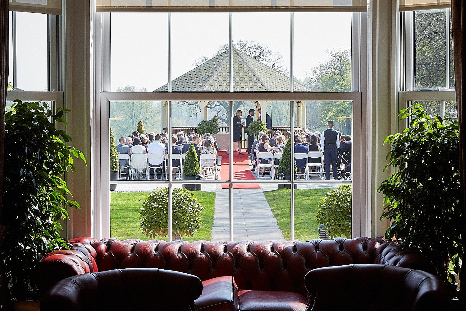 Viewing the outdoor wedding ceremony space at Kenwick Park